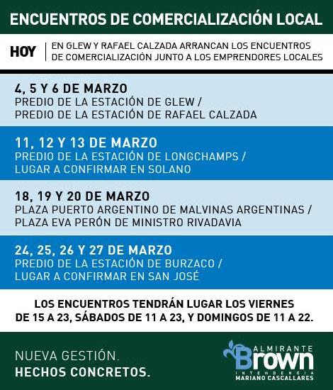 HOY EN GLEW Y RAFAEL CALZADA ARRANCAN LOS ENCUENTROS DE COMERCIALIZACIÓN JUNTO A LOS EMPRENDORES LOCALES