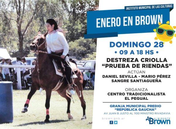 Destrezas criollas  y música en la Granja Municipal de Brown