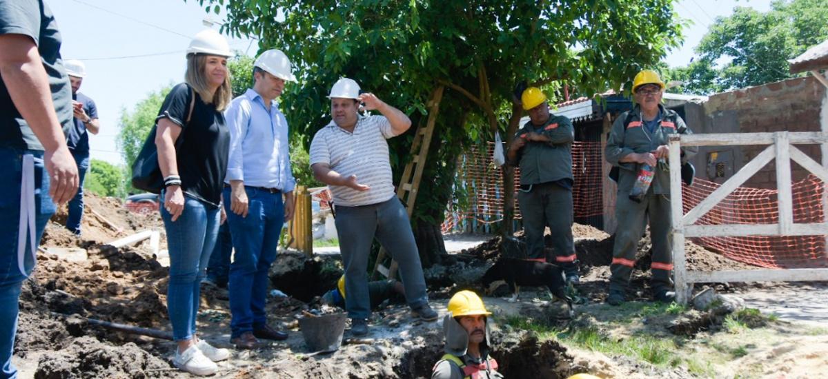 Cascallares supervisó obras de cloacas y agua potable que benefician a 12 mil vecinos en Malvinas Argentinas
