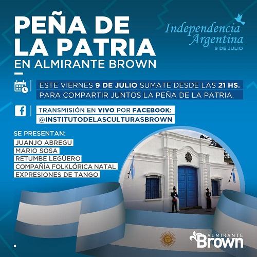 El Municipio celebra nuevo aniversario de la Independencia con una Peña Patria virtual